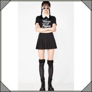 Dolls Kill Tops - * Wednesday Adams Black Shirt * White Collar *